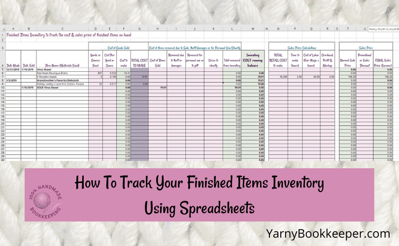 A spreadsheet for tracking inventory of finished items